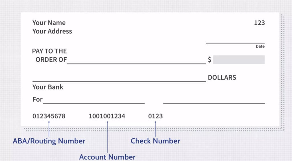 Check image showing Routing Number and Account Number Locations